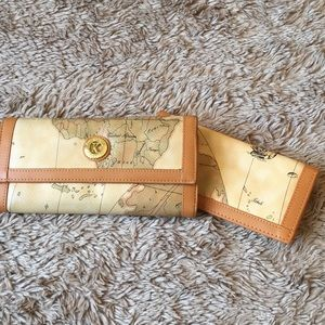Map print wallet and check book